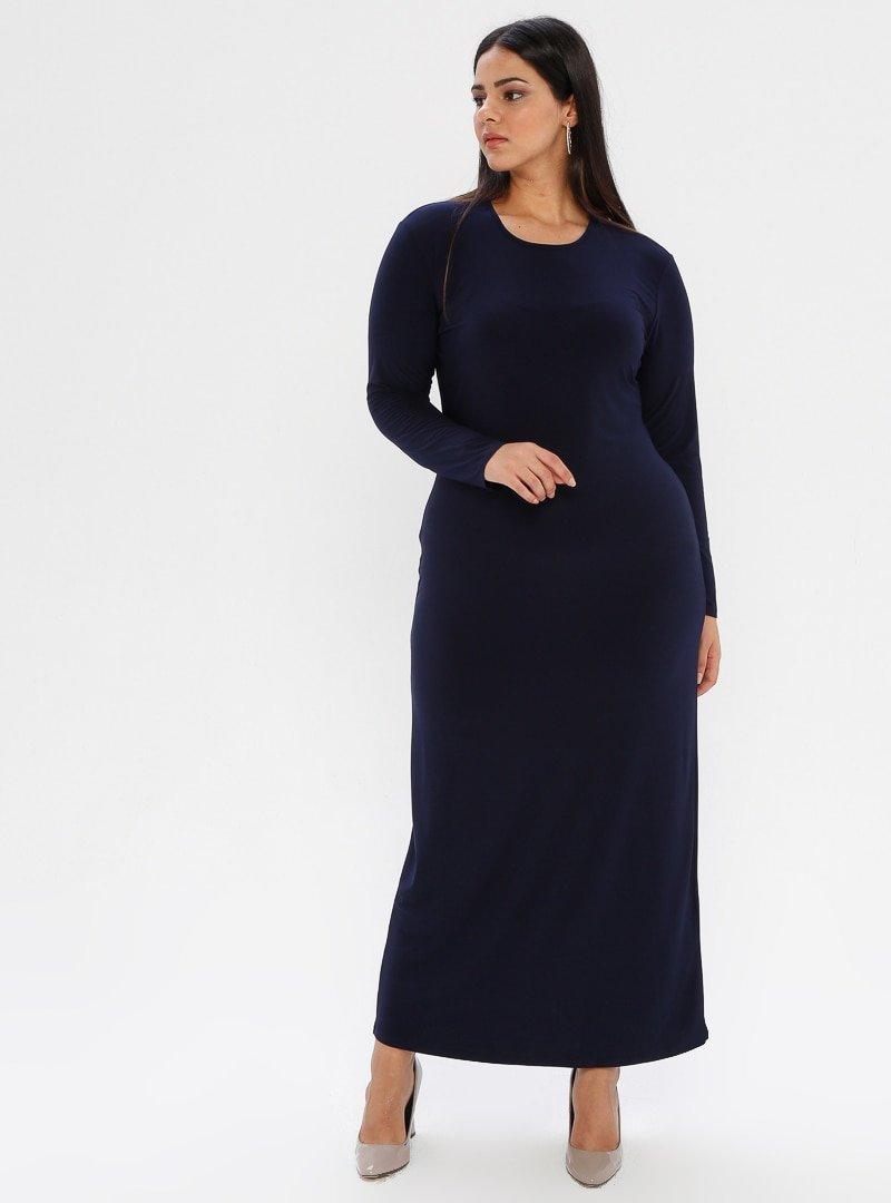 he&de Lacivert Düz Renk Abiye Elbise