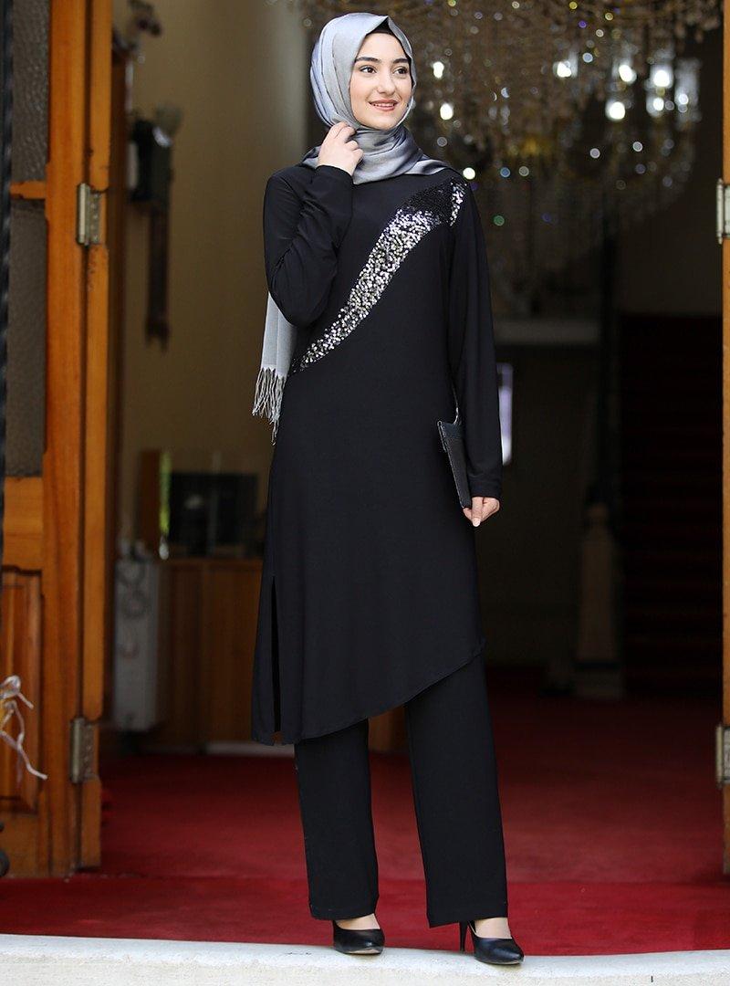 Rabeysa Siyah Yaprak İkili Takım Elbise