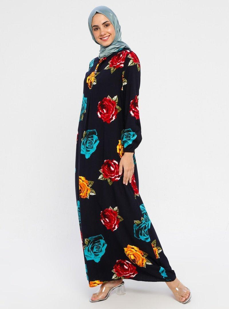 ECESUN Lacivert Çiçek Desenli Elbise