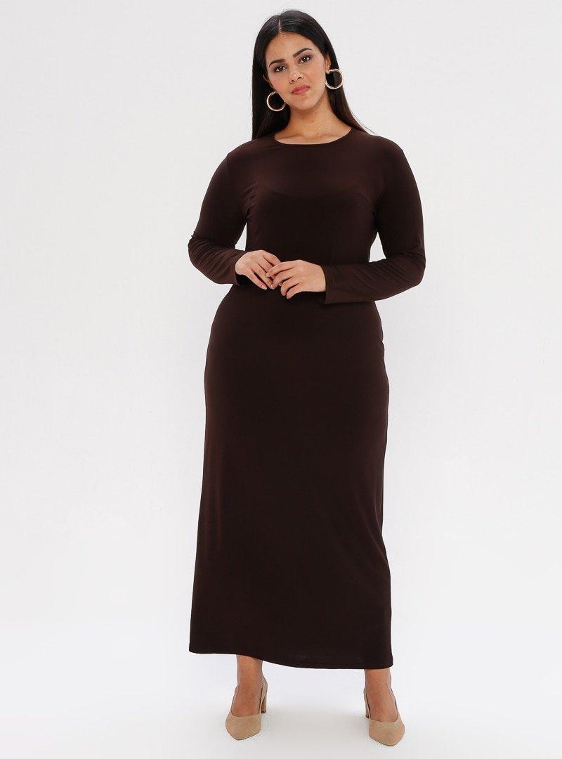 he&de Kahverengi Düz Renk Abiye Elbise