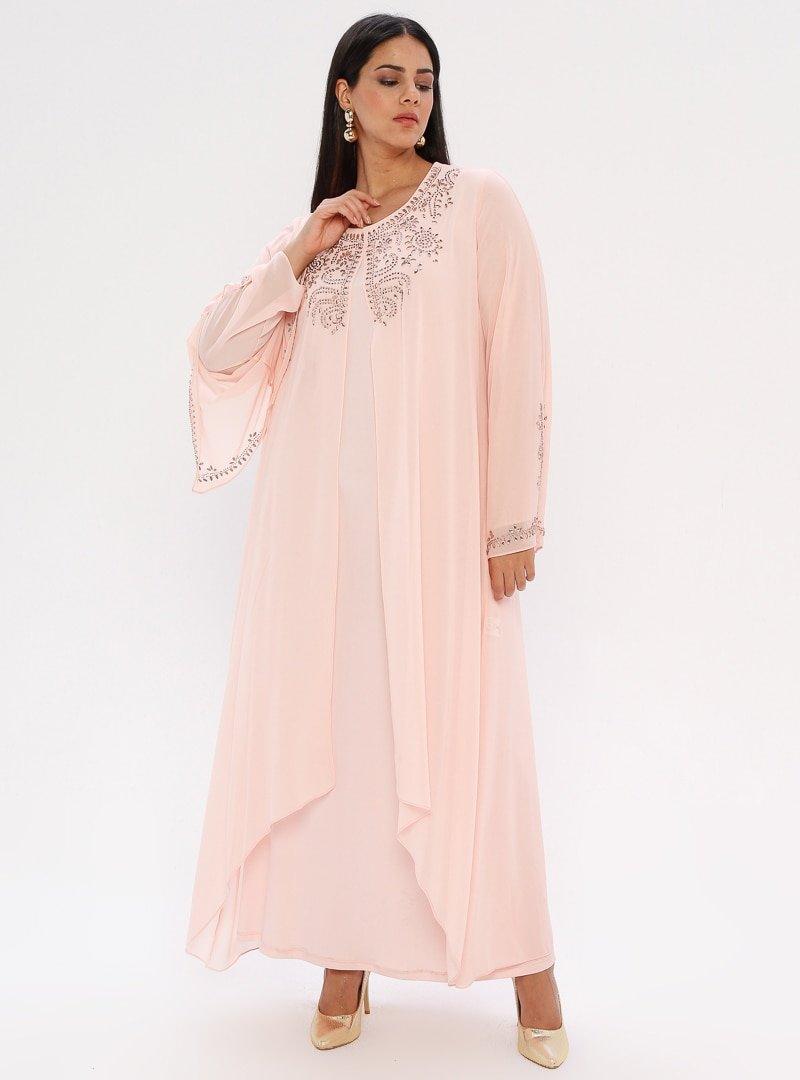 he&de Somon Drop Baskılı Abiye Elbise