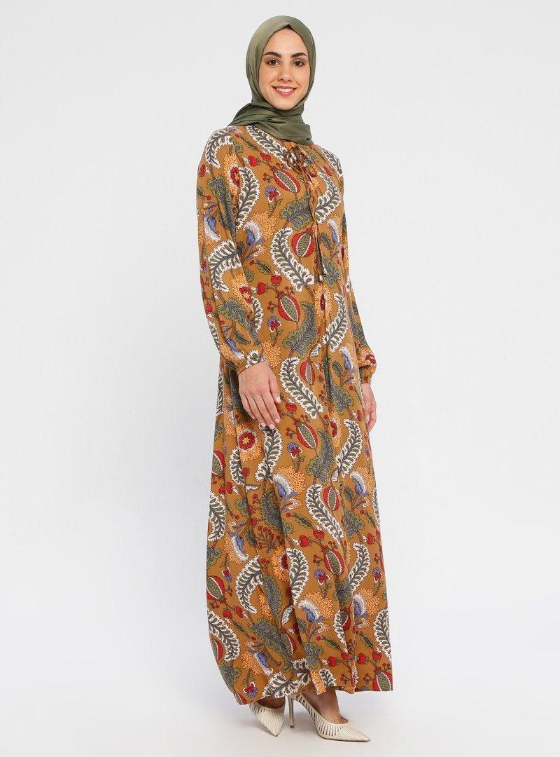 Topless Taba Karışık Desenli Elbise