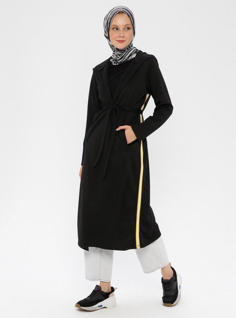 Çağrı Giyim Siyah Kapüşonlu Kap