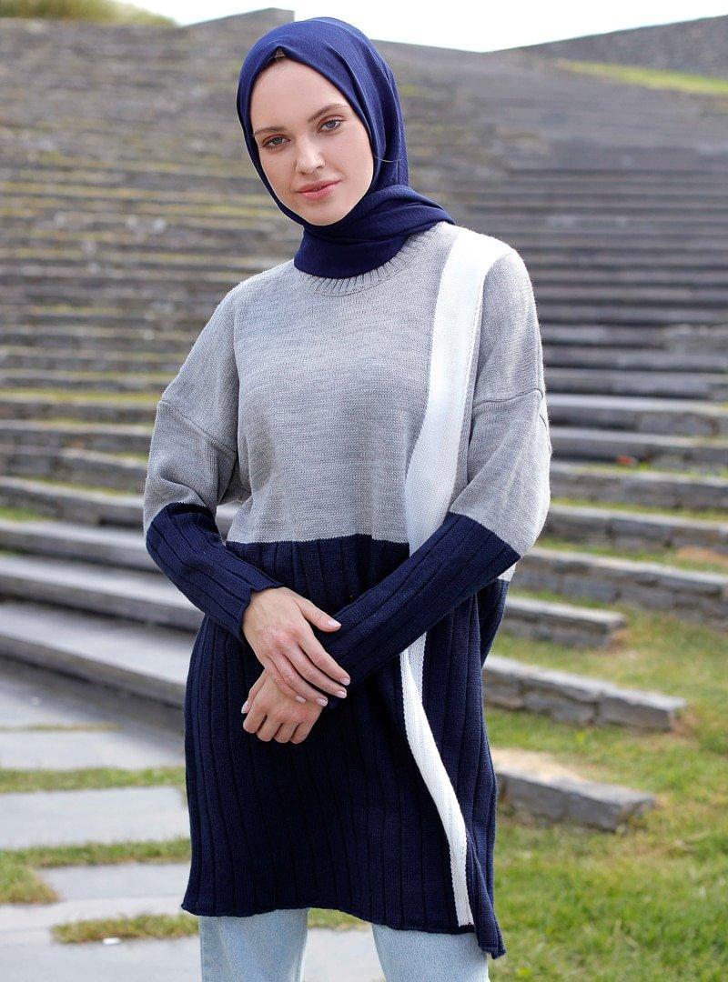 İnşirah Gri Lacivert Triko Kazak