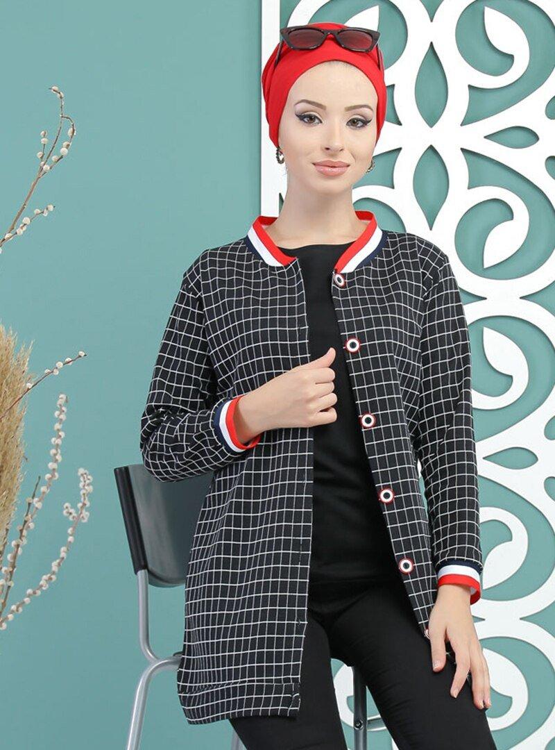Tofisa Siyah Kareli Ceket
