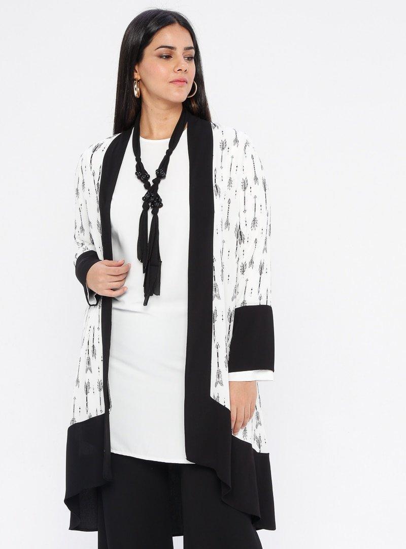 ORHAN GİYİM Siyah Beyaz Tunik&Kap İkili Takım