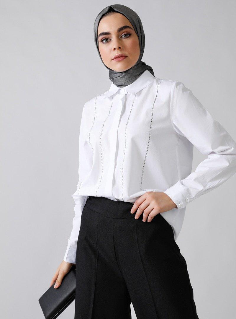 Refka Beyaz Doğal Kumaşlı Taş Baskılı Gömlek