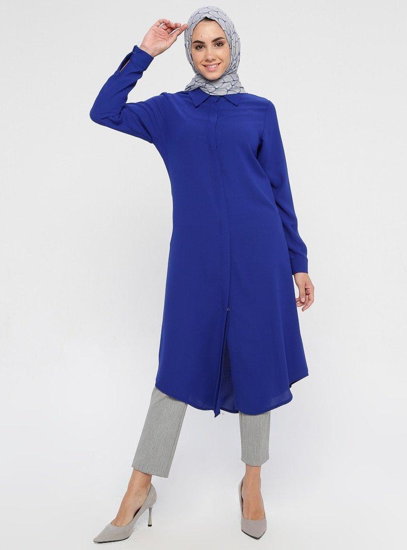 Topless Saks Mavisi Gömlek Tunik