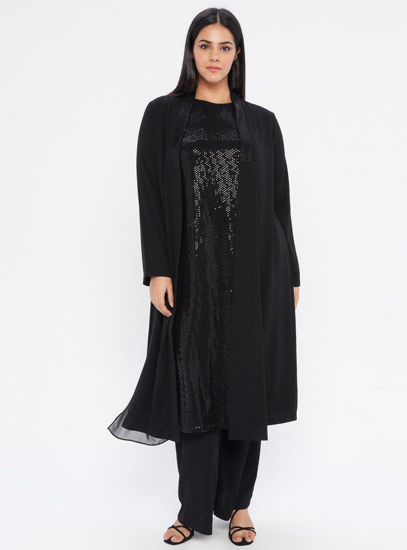 ORHAN GİYİM Siyah Kolsuz Tunik&Kap İkili Takım