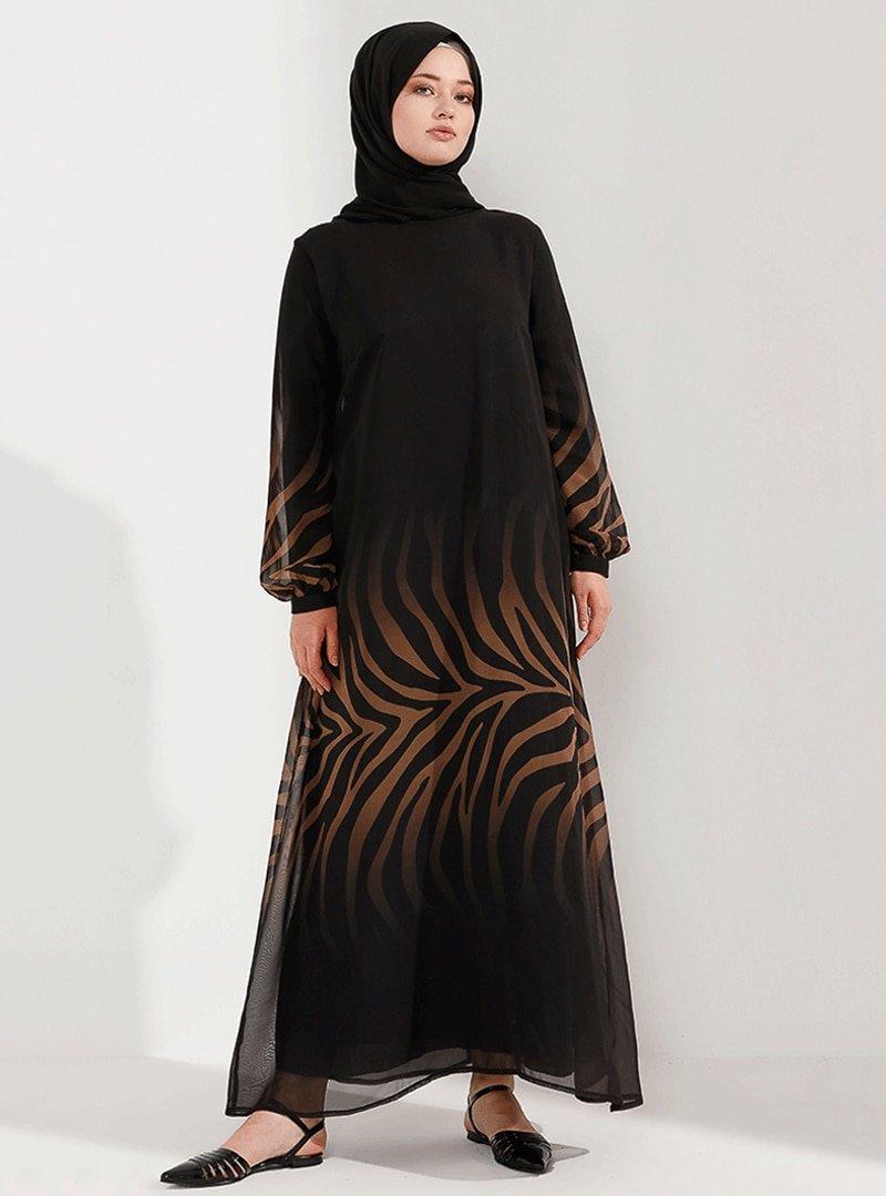 Nesrin Emniyetli BejSiyah Degrade Şifon Elbise