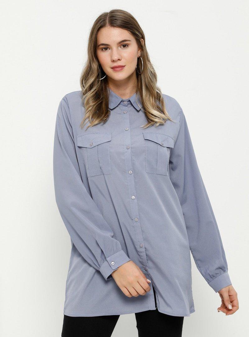 Alia Lila Cep Detaylı Gömlek