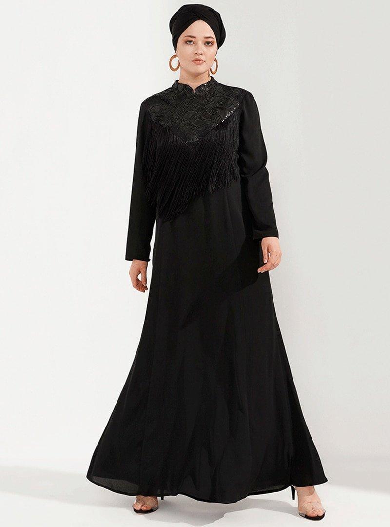 Nesrin Emniyetli Siyah Püsküllü Abiye Elbise