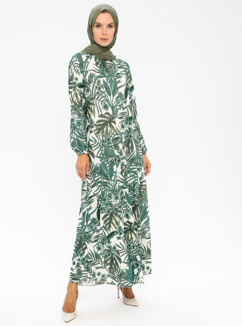 ECESUN Haki Desenli Elbise
