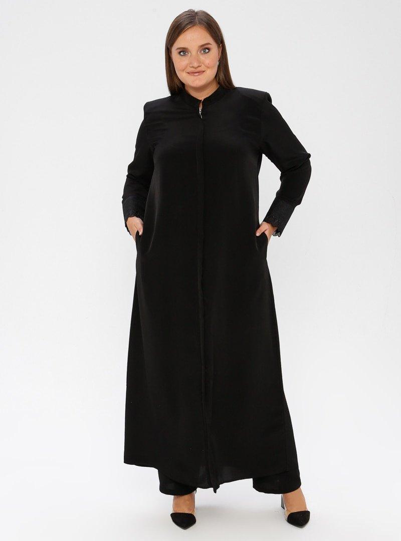 ModaNaz Parlak Siyah Gizli Fermuar Detaylı Ferace