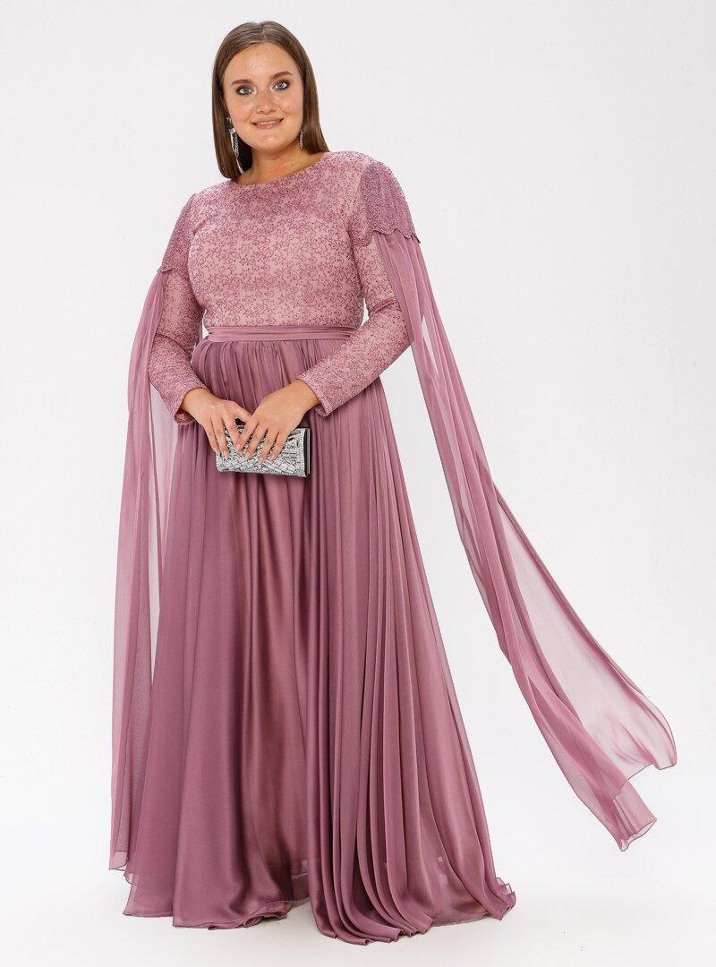 MODAYSA Gül Kurusu Dantel Detaylı Elbise