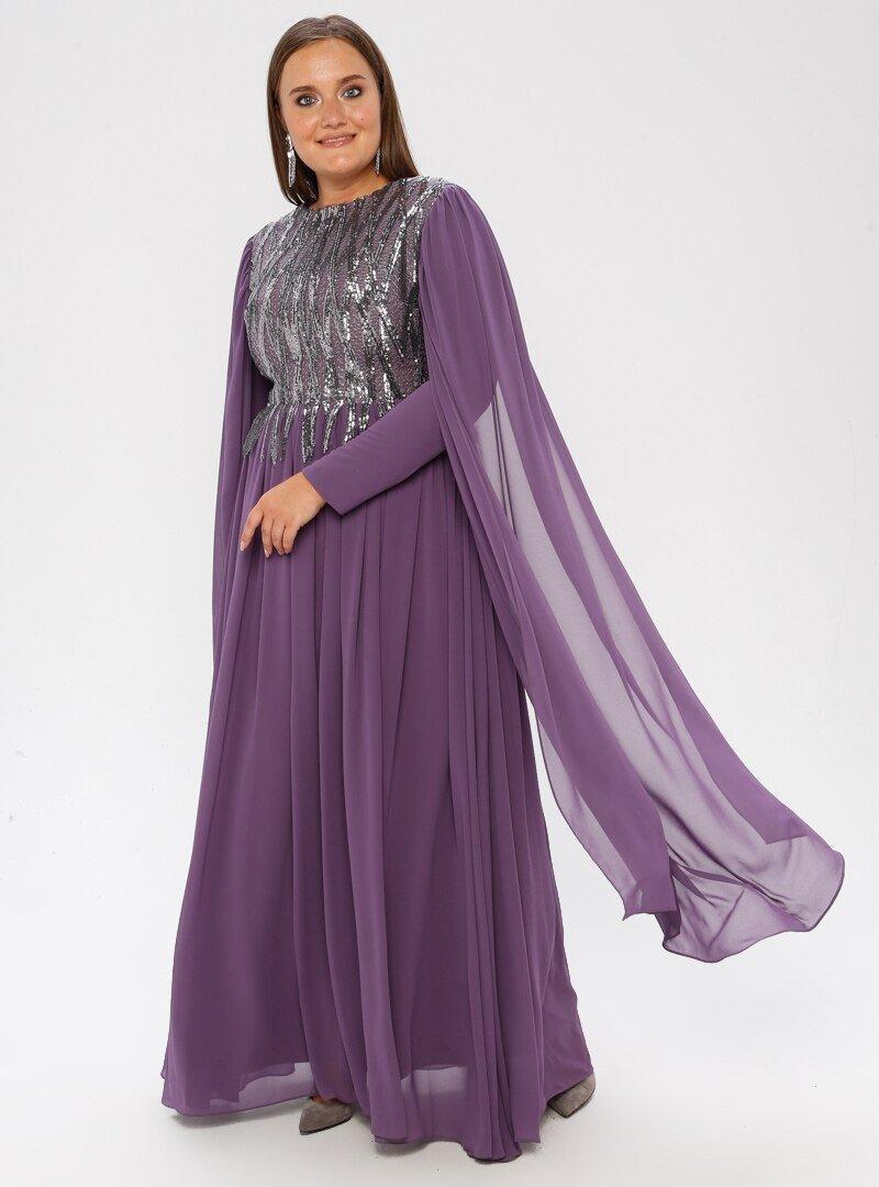 MODAYSA Lila Pullu Detaylı Elbise