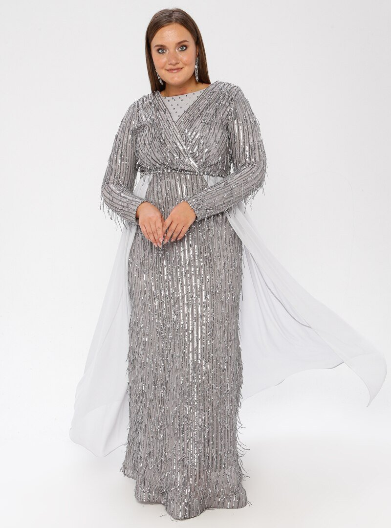 MODAYSA Gümüş Pullu Detaylı Elbise