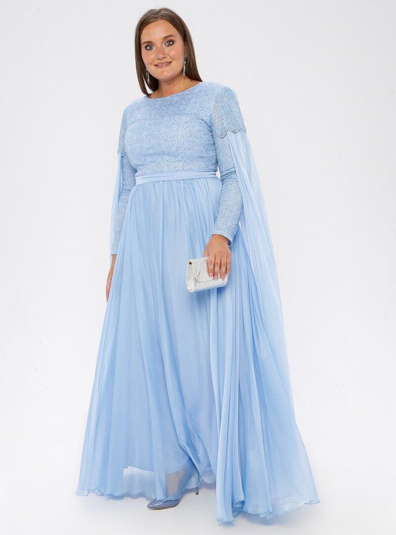 MODAYSA Mavi Dantel Detaylı Elbise