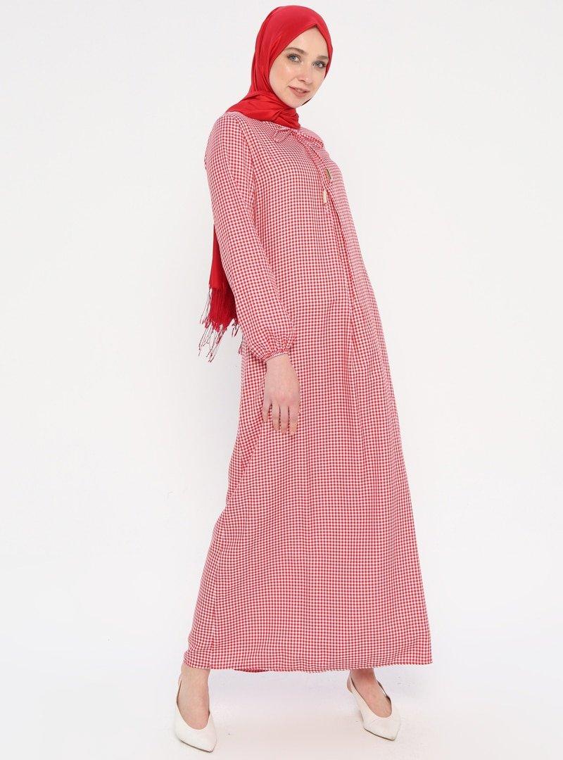 Ginezza Kırmızı Pötikareli Elbise