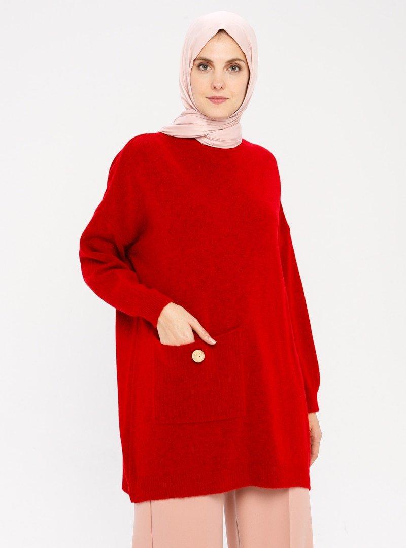 TURTAŞ Kırmızı Triko Tunik