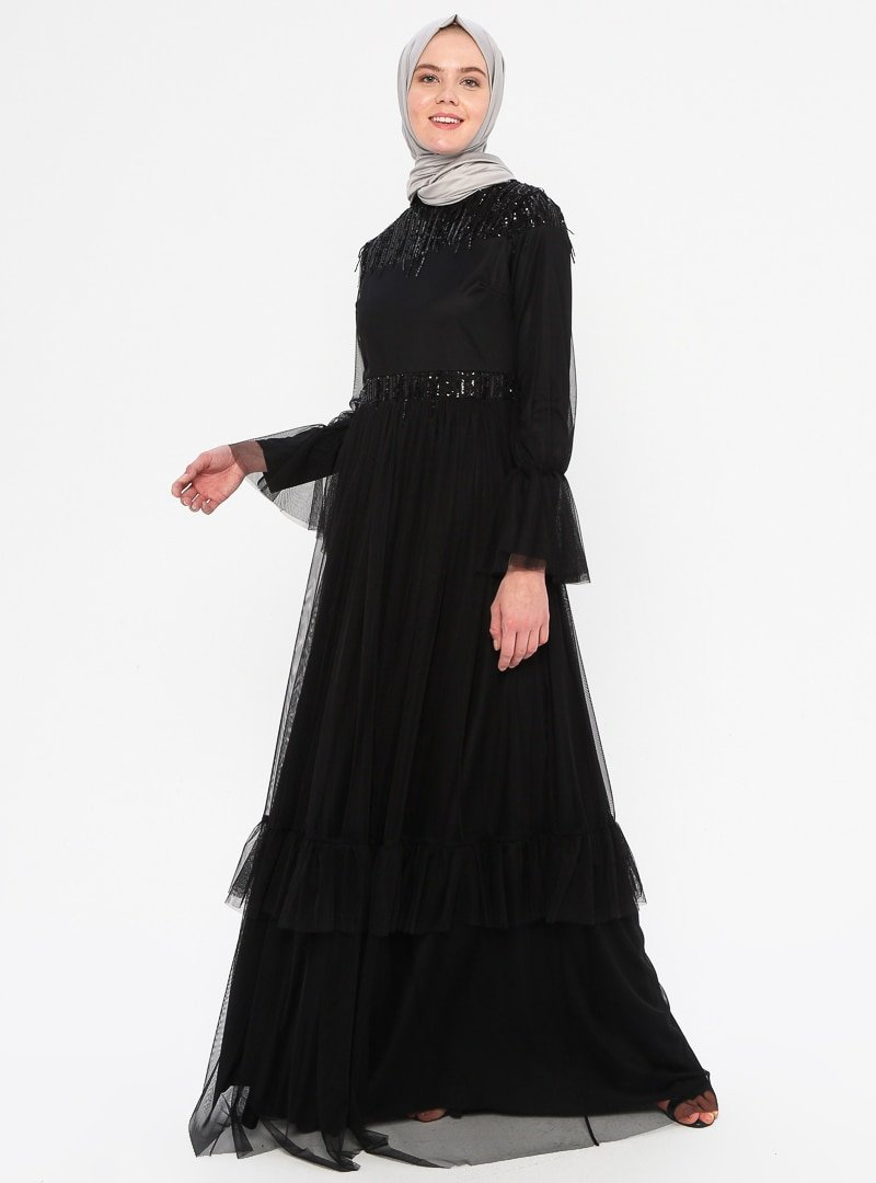 An-Nahar Siyah Salkım Abiye Elbise
