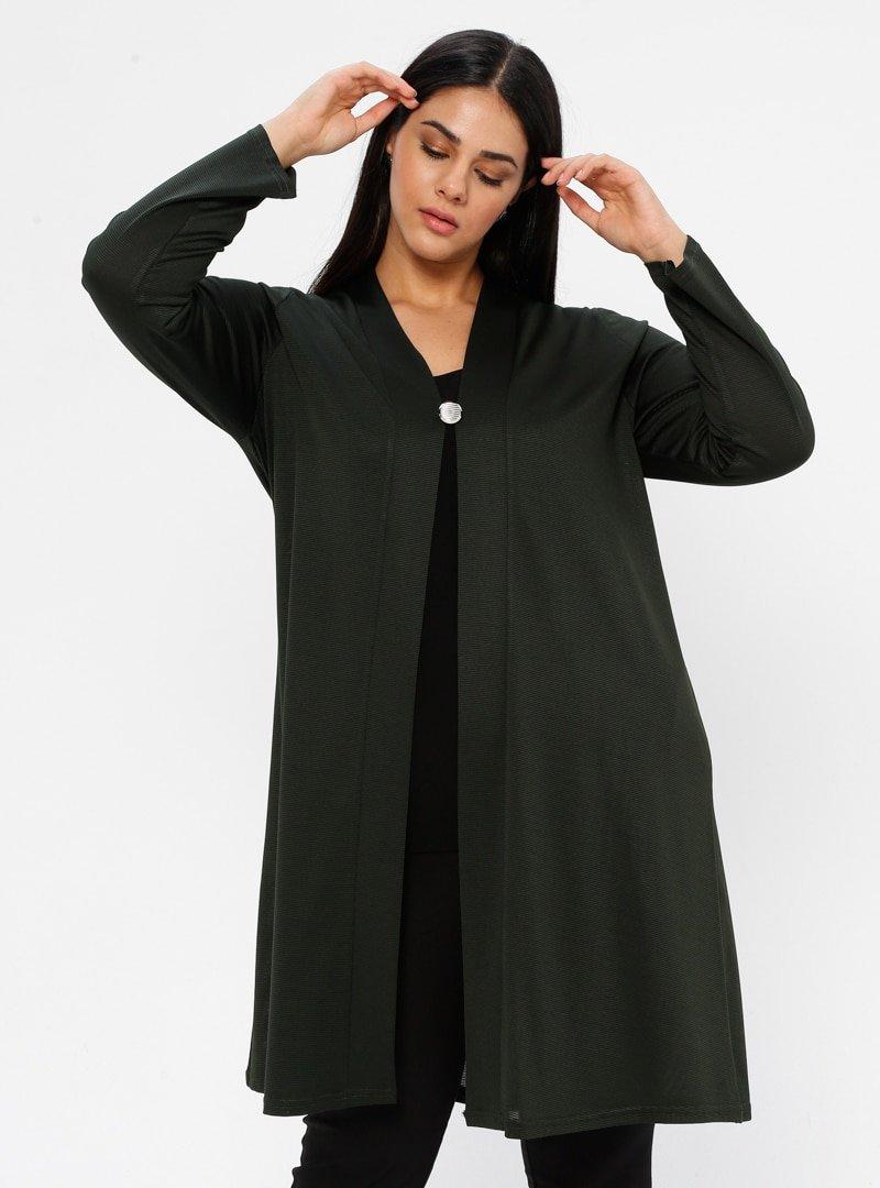 GELİNCE Yeşil Düğme Detaylı Ceket
