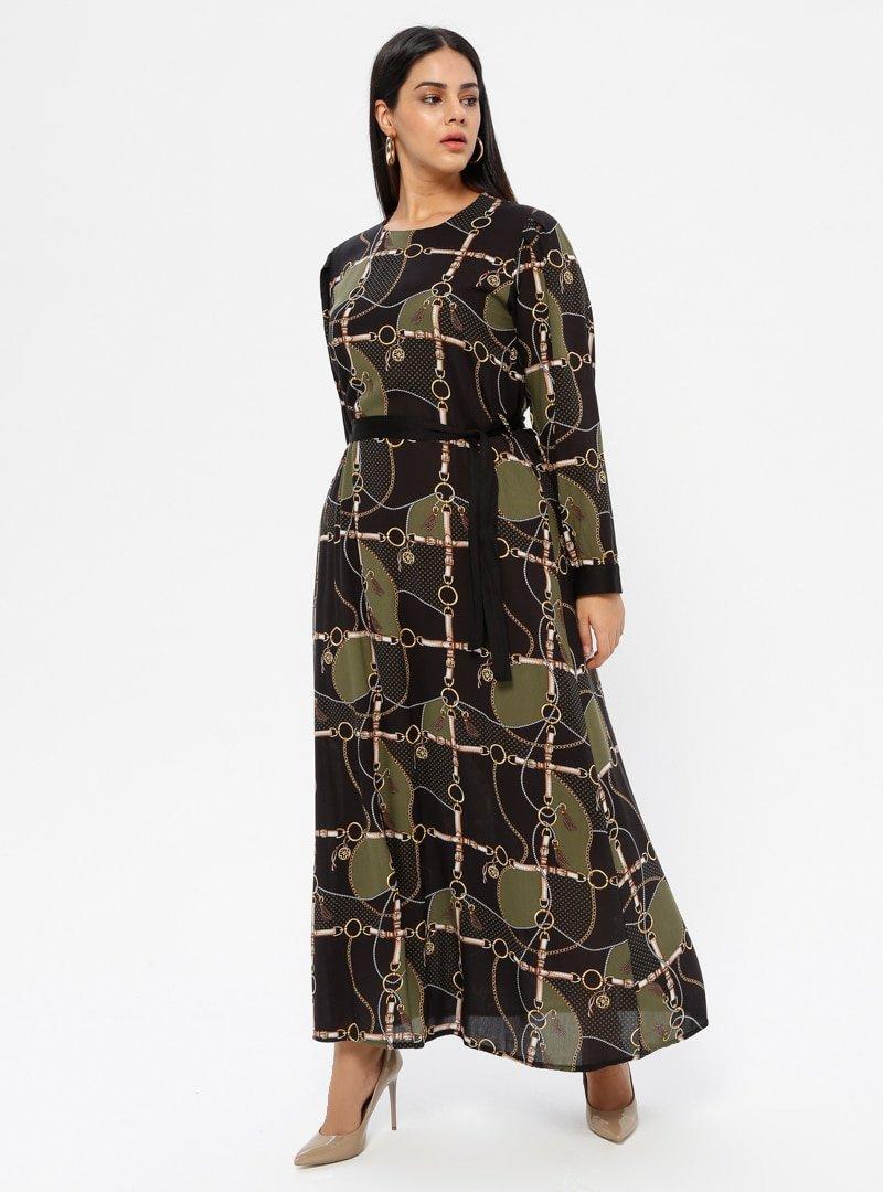 GELİNCE Haki Desenli Elbise