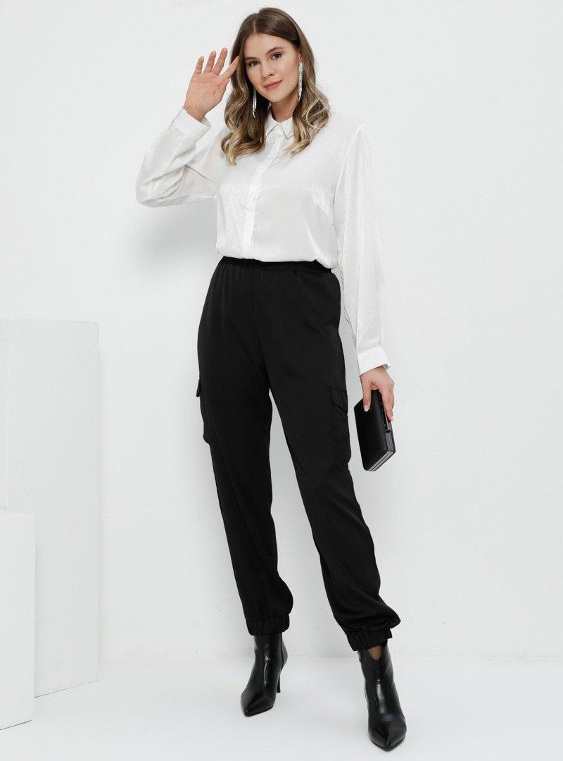 Alia Siyah Cep Detaylı Beli Lastikli Pantolon