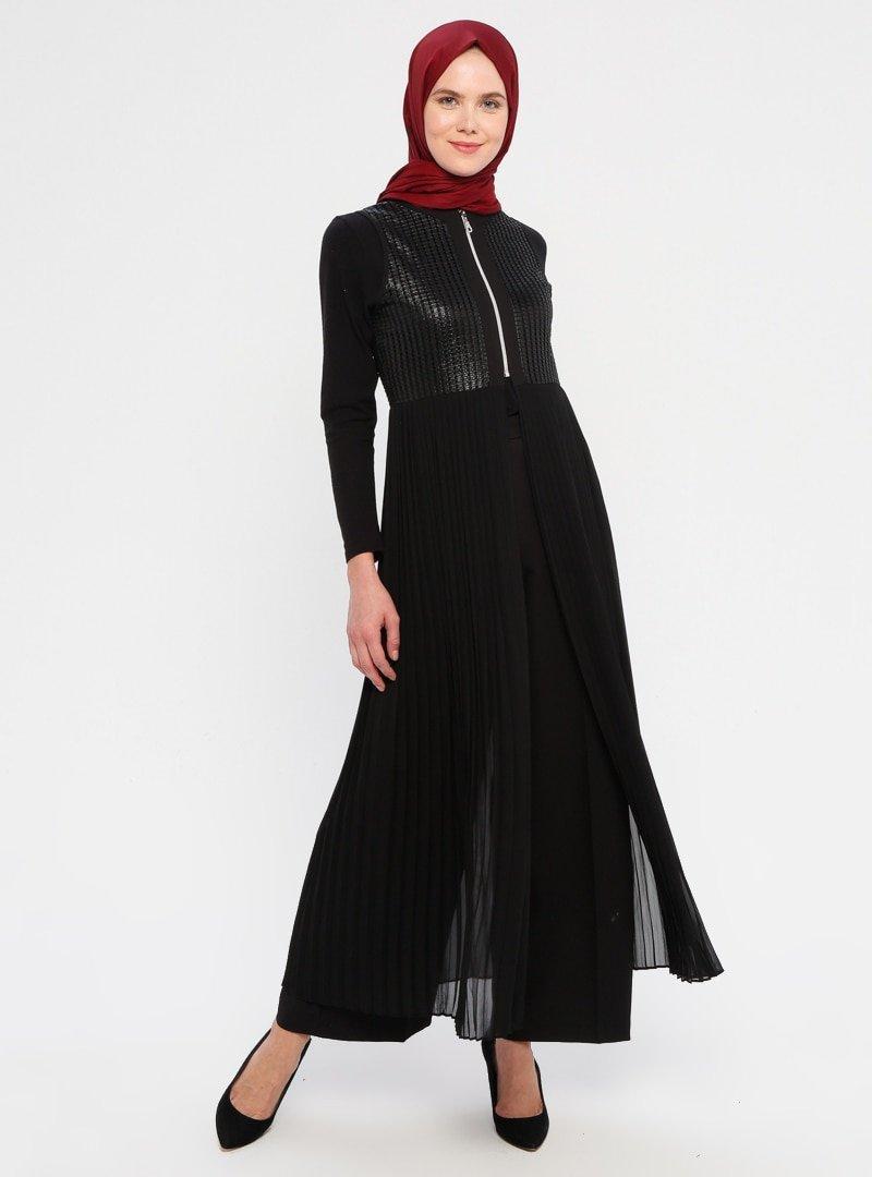 Moda Ravza Siyah Piliseli Şifon Yelek