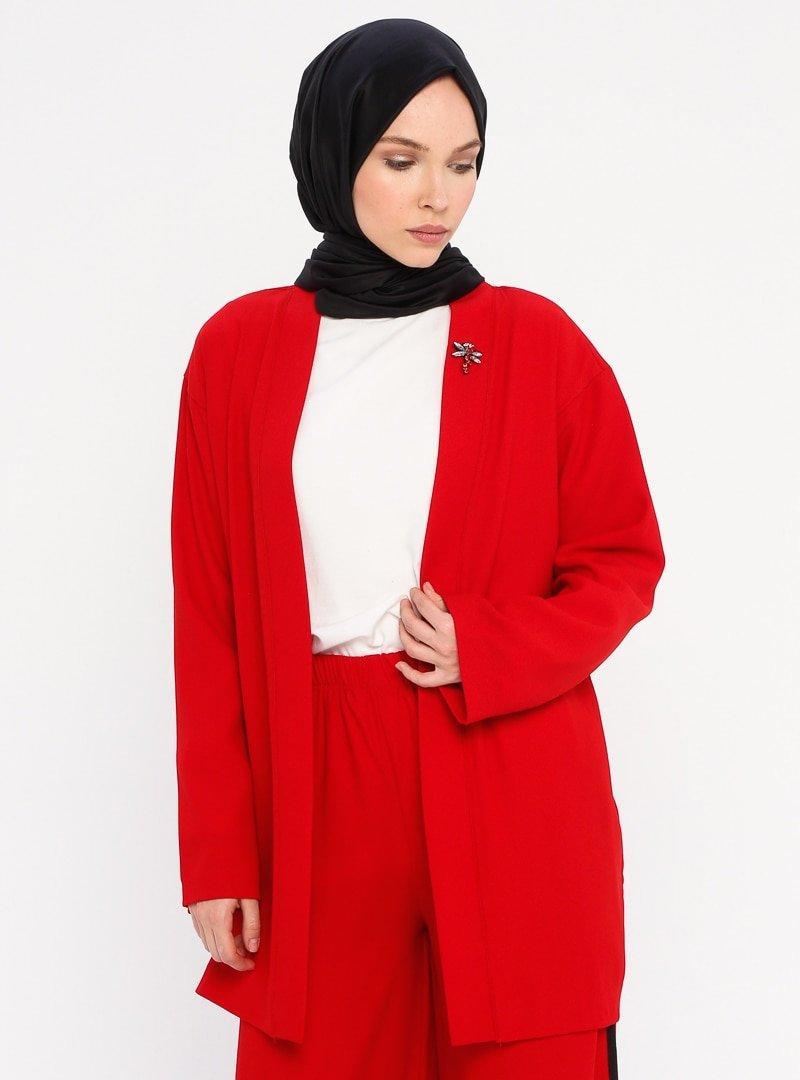 Meys Kırmızı Yakası Taş Detaylı Ceket