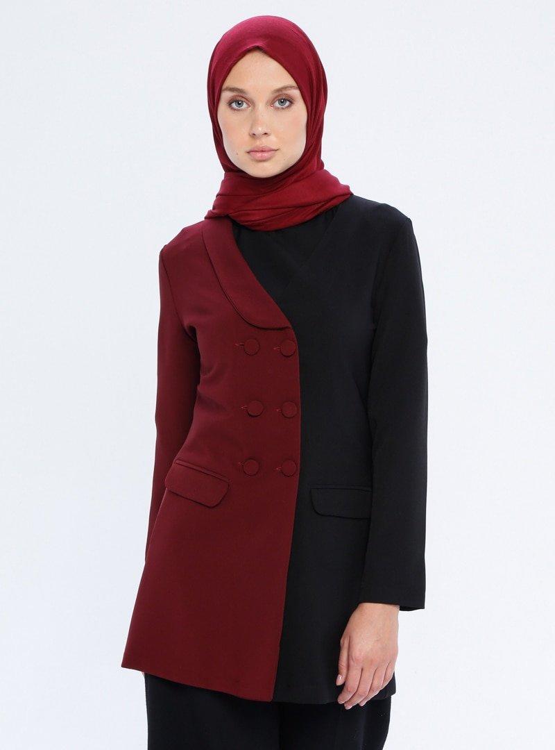 Mileny Siyah Bordo Garnili Ceket