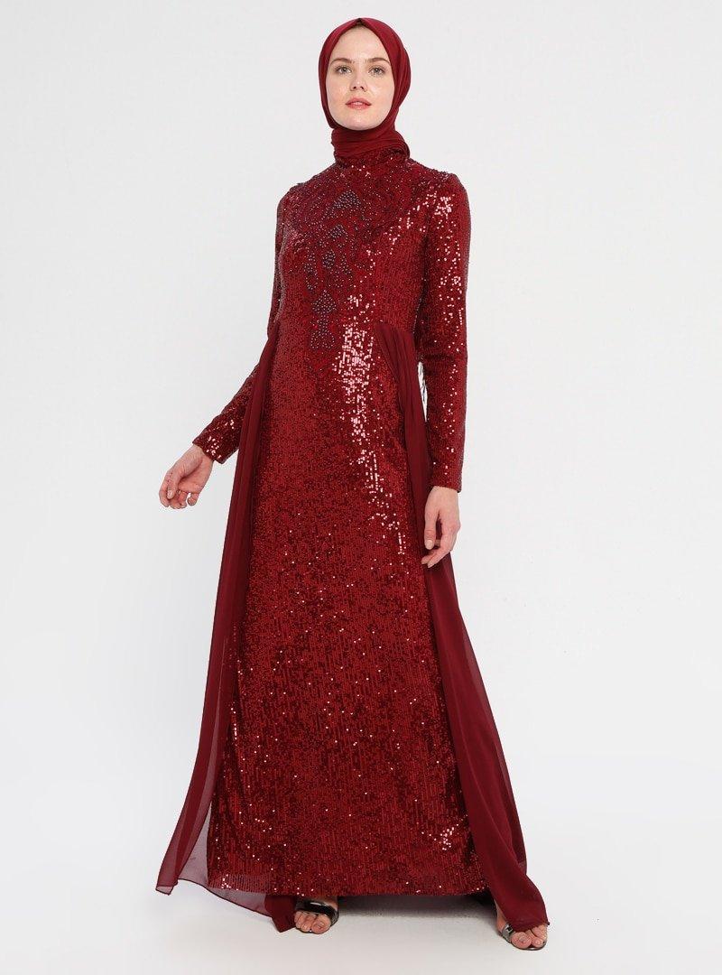 Moda Ravza Bordo Şifon Detaylı Payetli Abiye Elbise