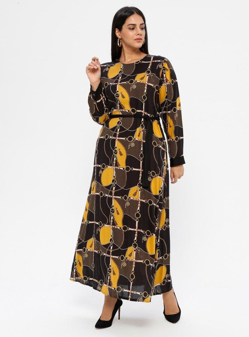 GELİNCE Hardal Desenli Elbise