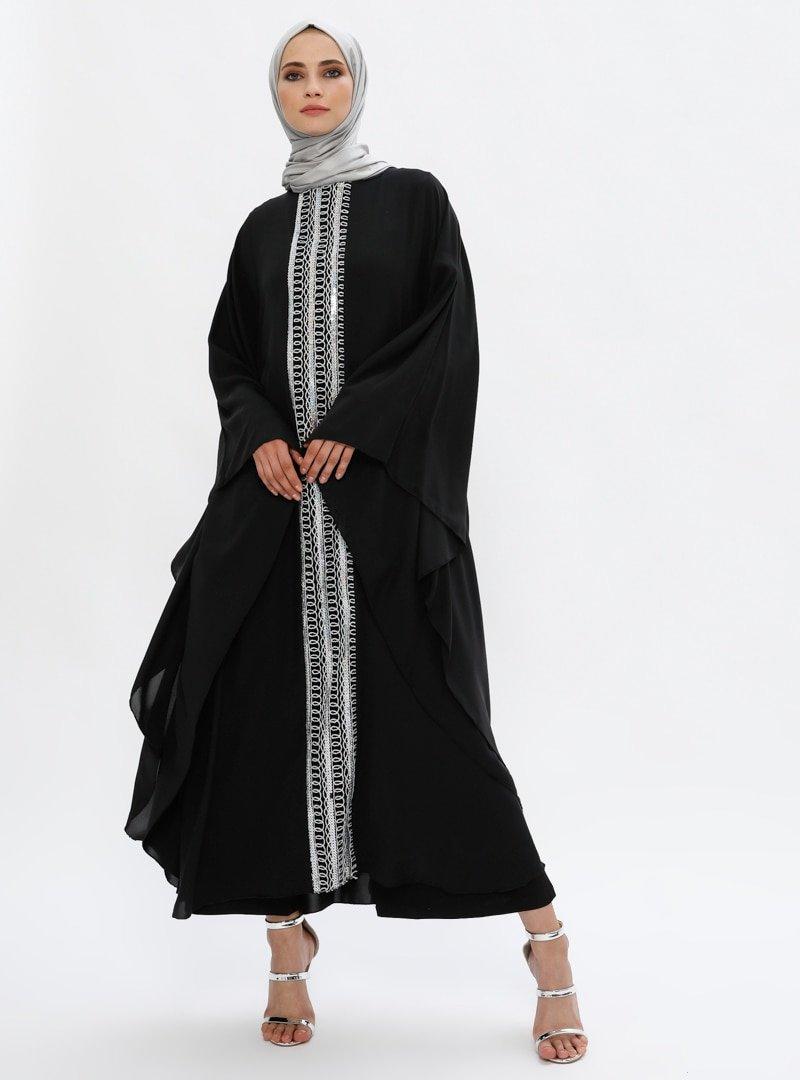Filizzade Siyah Pul Detaylı Ferace