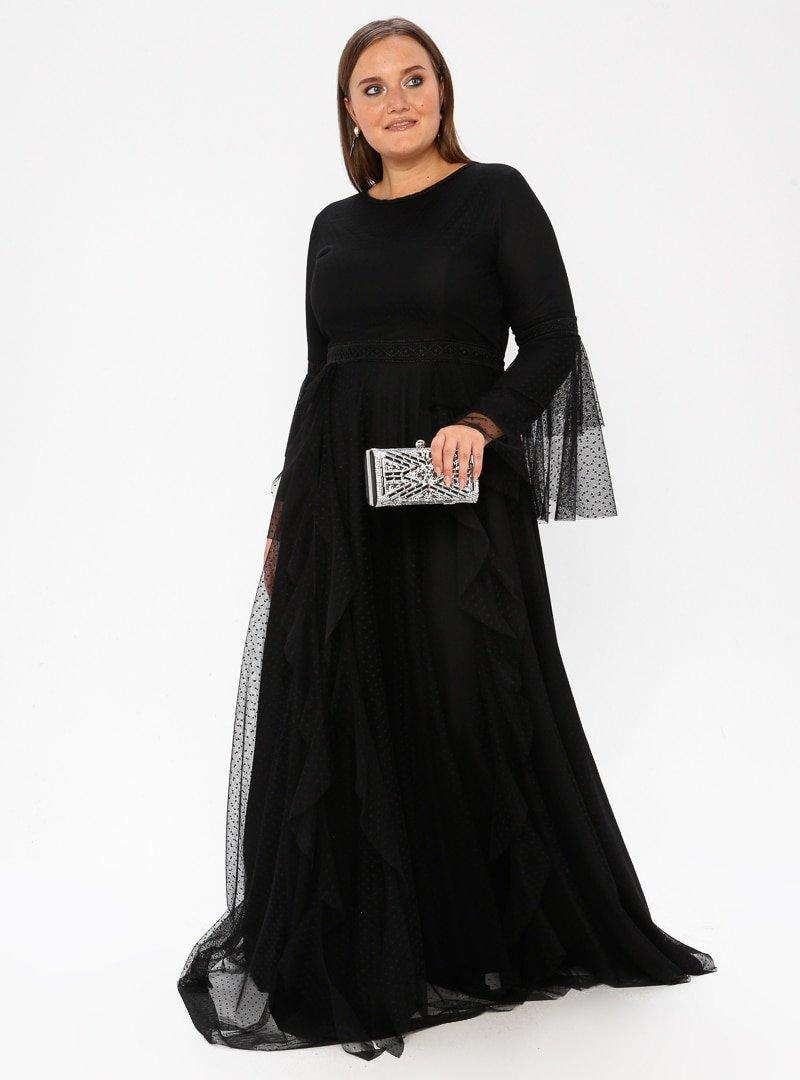 Arıkan Siyah Dantelli Abiye Elbise