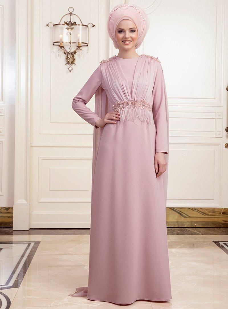 An-Nahar Pudra Şifon Detaylı Abiye Elbise