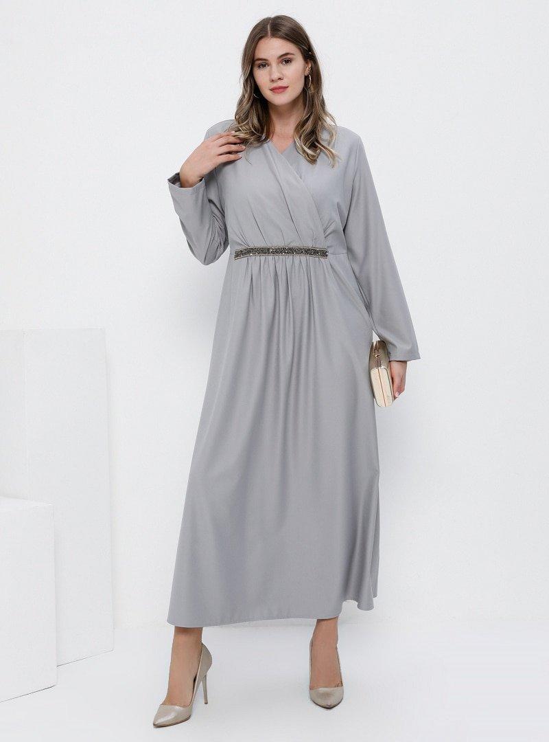 Alia Gümüş Beli Taşlı Kruvaze Yaka Elbise