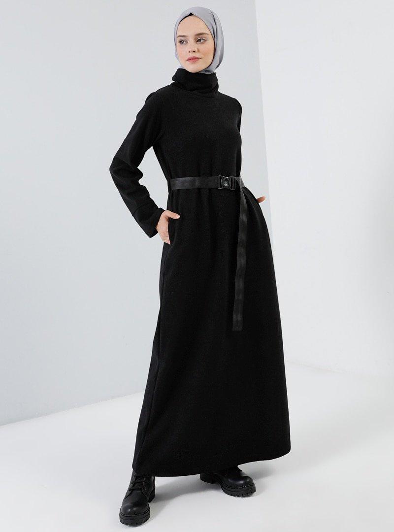Benin Siyah Cep Detaylı Kemerli Elbise