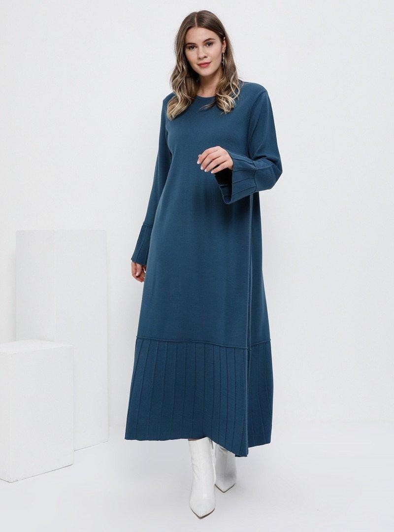 Alia İndigo Pilise Detaylı Triko Elbise