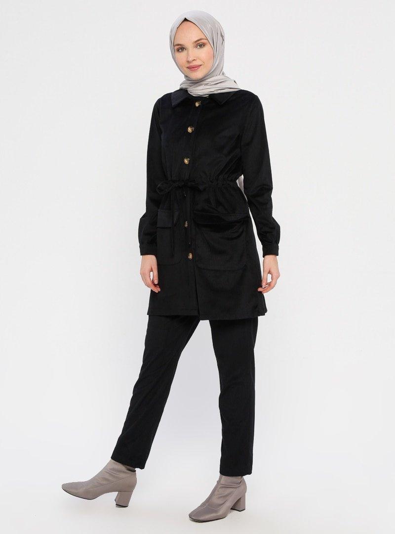 Panaline Siyah Kadife Ceket&Pantolon 2'li takım