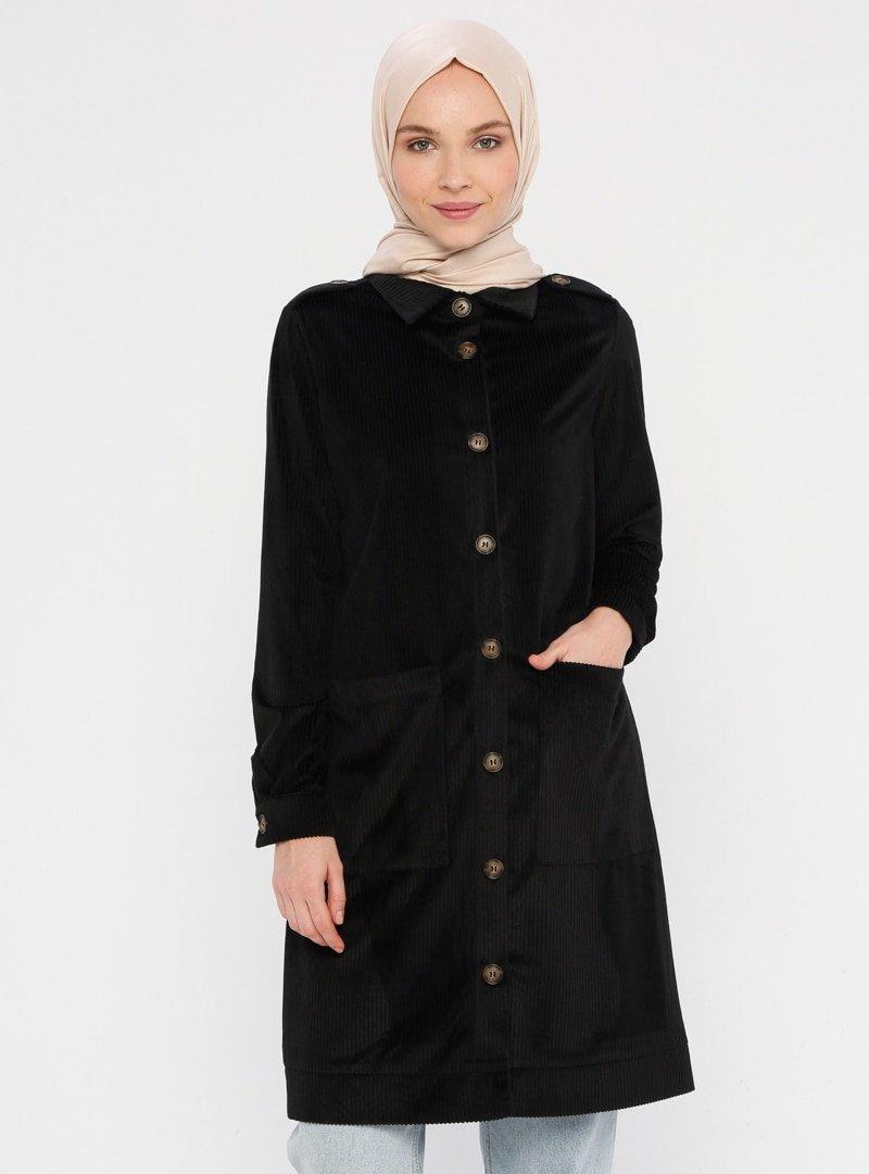 Panaline Siyah Kadife Ceket