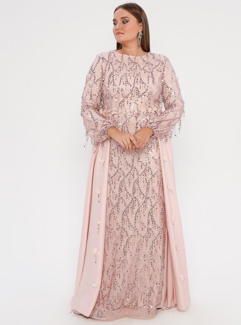 MODAYSA Pudra Pullu Detaylı Elbise