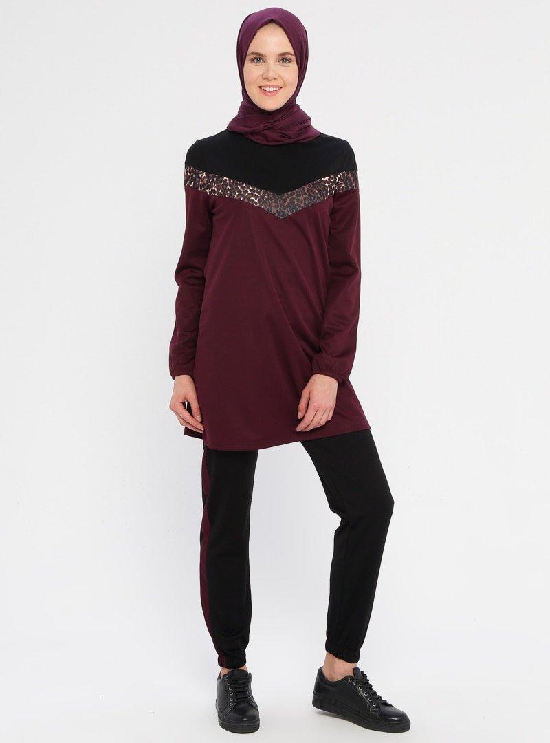 La Giza Fashion Mürdüm Leopar Şeritli Tunik&Pantolon İkili Takım