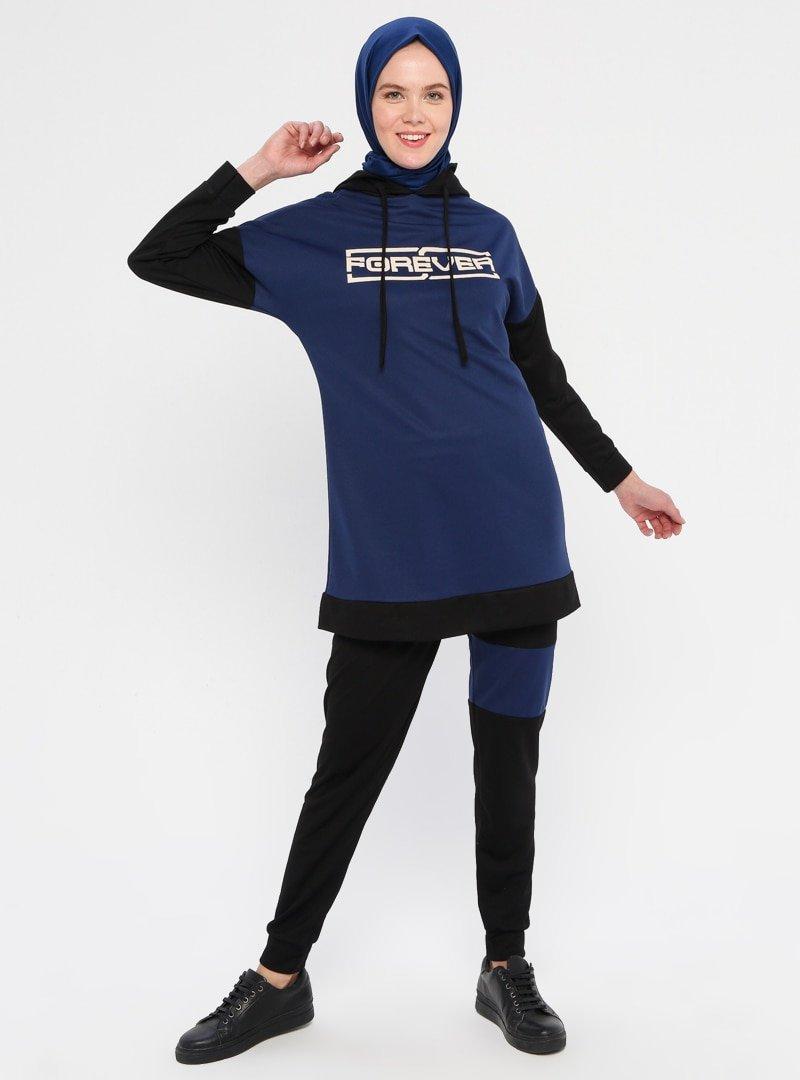 La Giza Fashion İndigo Kapüşonlu Tunik&Pantolon İkili Takım