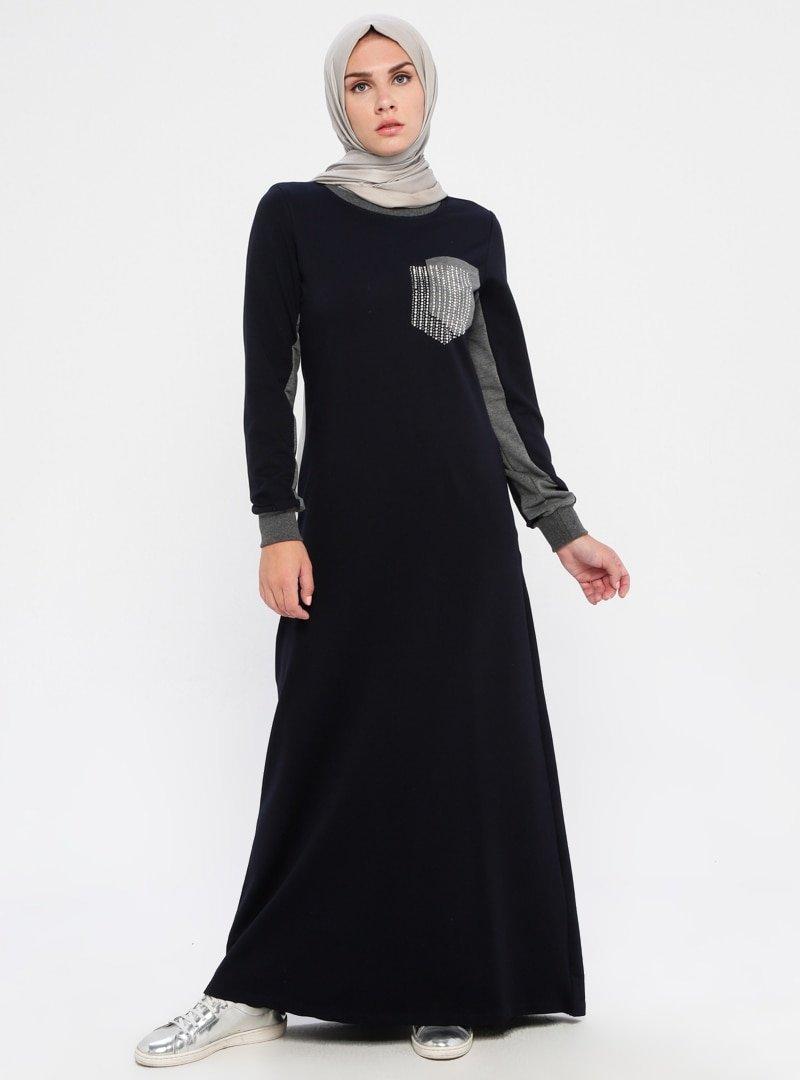 Ginezza Lacivert Cep Detaylı Elbise