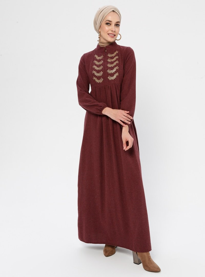 Ginezza Bordo Kolu Lastik Detaylı Elbise