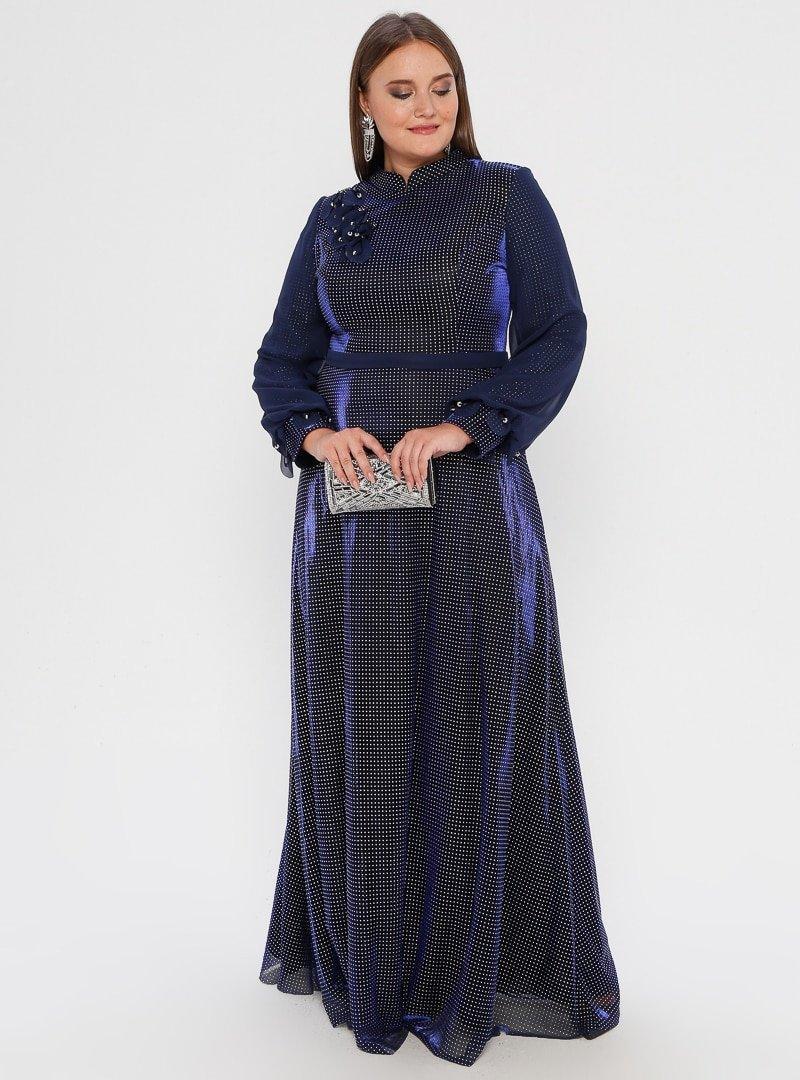 MODAYSA Lacivert Pullu Detaylı Elbise