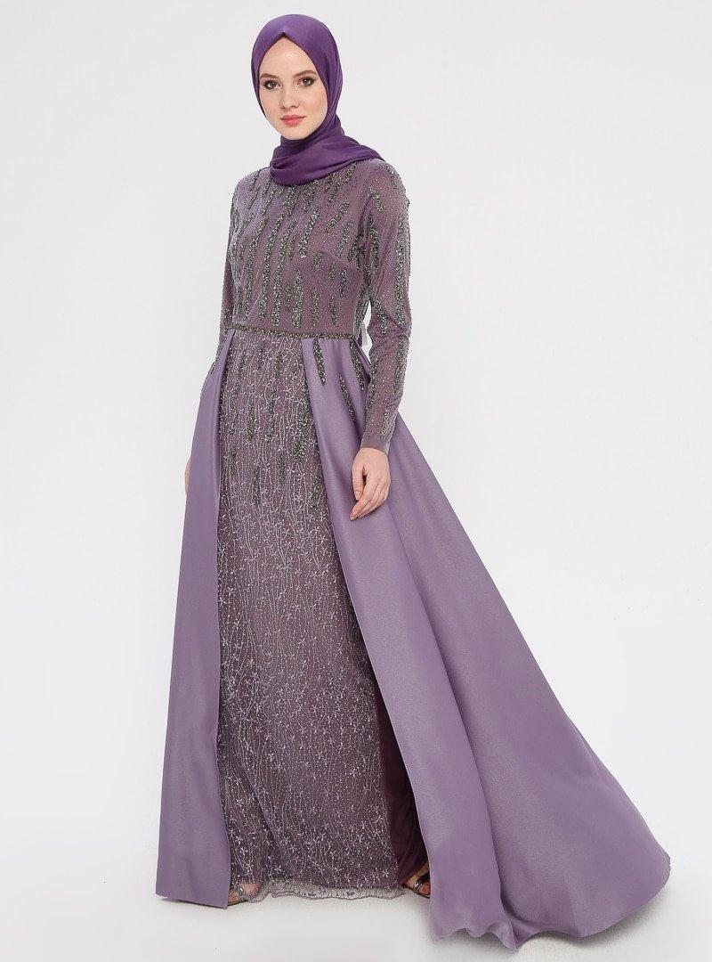 MODAYSA Lila Taş Detaylı Abiye Elbise