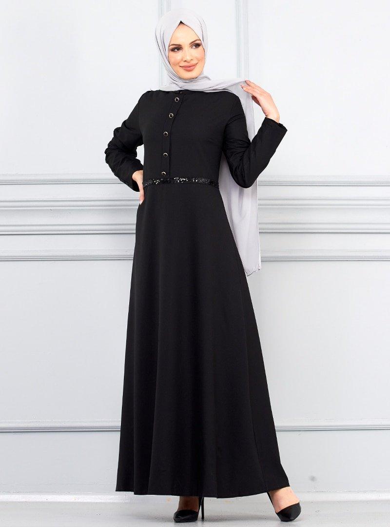 Butik Neşe Siyah Kolları Pul Payet Süslemeli Elbise