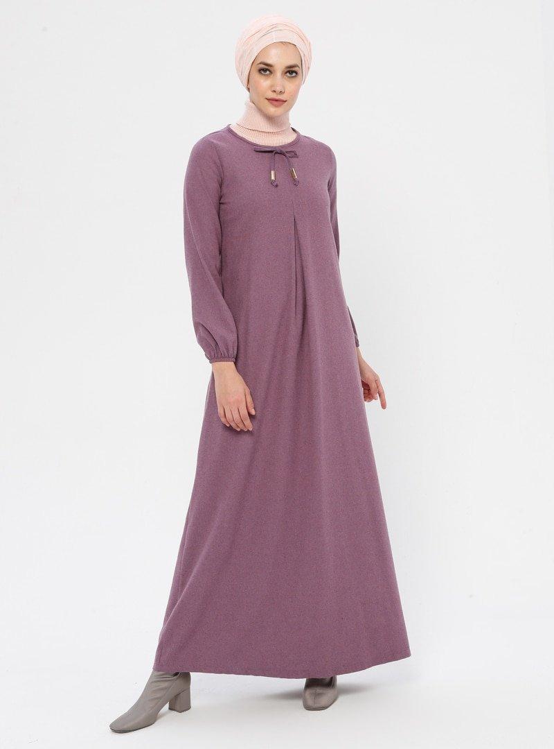 Ginezza Açık Lila Kol Detaylı Elbise